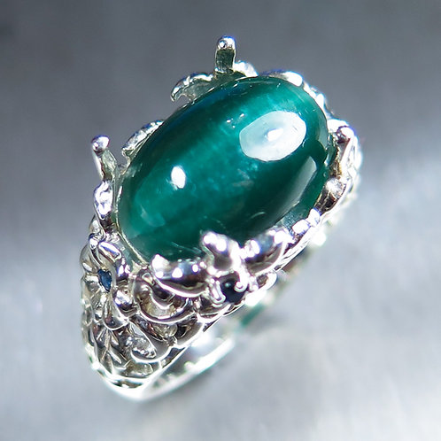 8.5ct Natural Cats eye Apatite 925 Silver / Gold/ Platinum ring