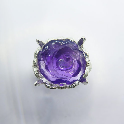 Natural purple Amethyst rose flower 925 Silver / Gold/ Platinum solitaire ring