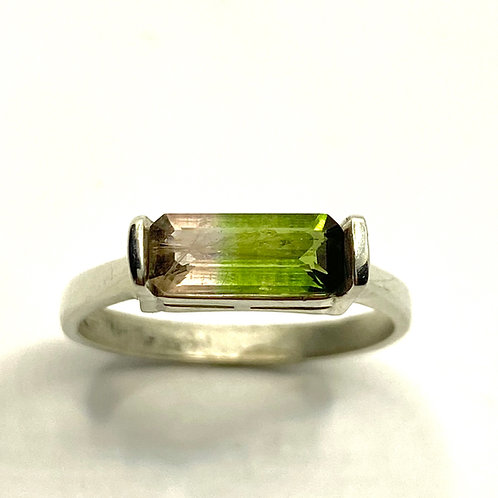 1.05ct Natural bi-colour watermelon tourmaline 925 Silver / Gold/ east west ring