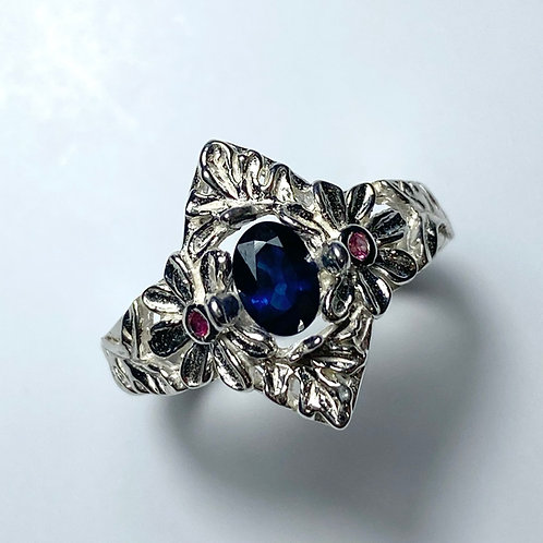 Natural Royal blue Sapphire 925 Silver / Gold/ Platinum ring