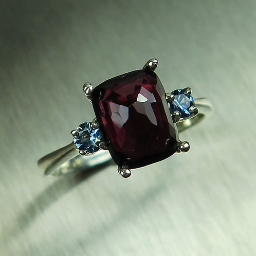 2.4ct Natural Red Spinel & sapphire 925 Silver / Gold/ Platinum ring