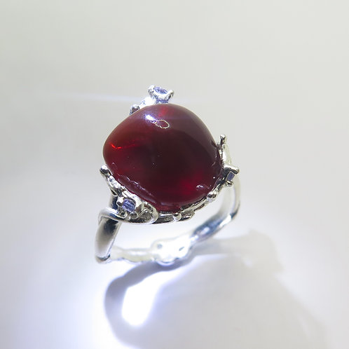 5ct Natural Mexican Fire Opal 925 Silver / Gold/ Platinum ring