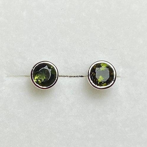 0.6ct Natural green tourmaline Silver /Gold bezel stud earrings