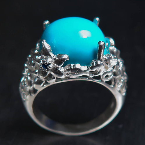 6.8cts Natural Turquoise sleeping beauty 925 Silver/ Gold/ Platinum ring