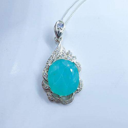 5.4ct Natural Peruvian Andean Paraiba Blue Opal Silver / Gold / Platinum pendant