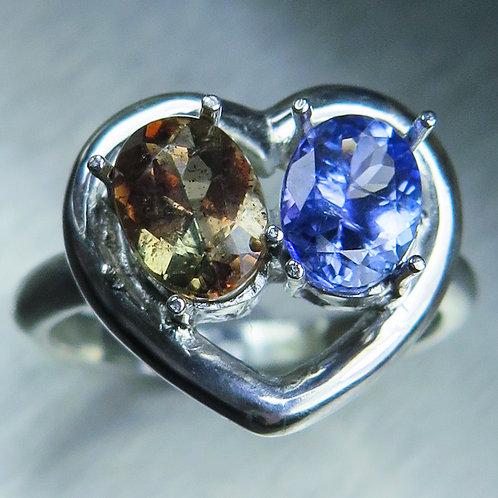 Natural Andalusite & Tanzanite 925 Silver / Gold/ Platinum ring