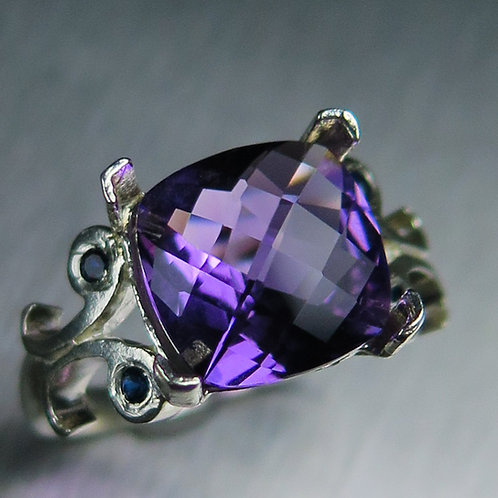 3.25ct Natural Purple Amethyst 925 Silver / Gold/ Platinum