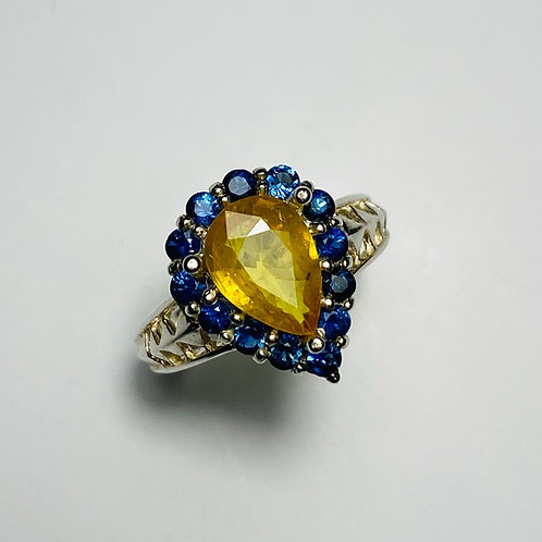 2.05ct Natural Yellow sapphire 925 Silver / Gold/ Platinum solitaire engagement
