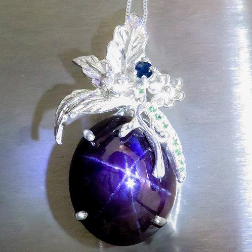 66ct Natural Almandine Star Garnet Silver / Gold / Platinum pendant on chain