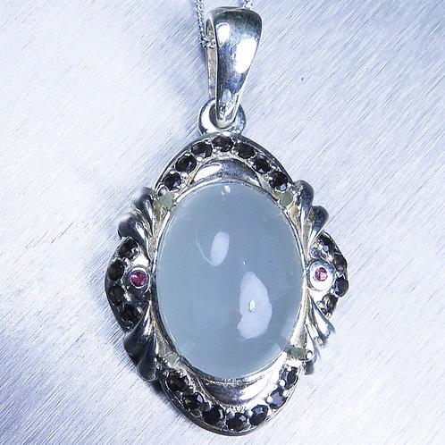 9.35ct Natural Blue Aquamarine cats eye Silver / Gold / Platinum pendant o