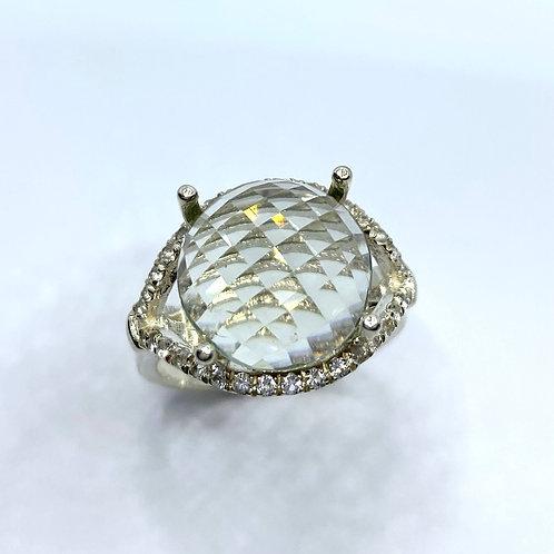 6.05cts Natural Prasiolite Amethyst vermarine 925 Silver / Gold ring