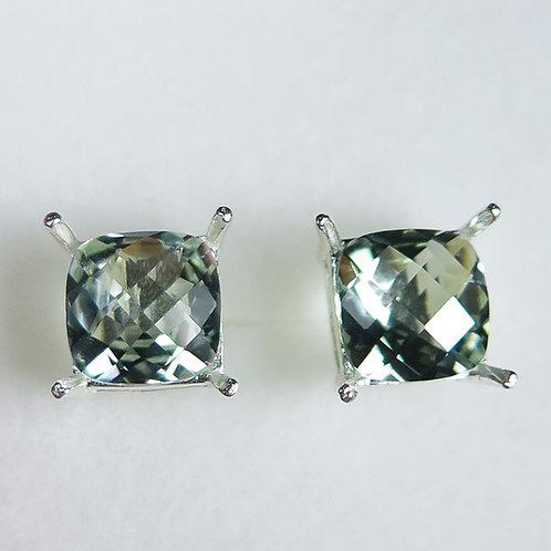 Natural PrasioliteAmethyst Silver /Gold / Platinum stud earrings