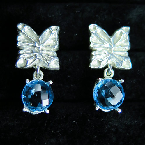 3.1cts Natural Swiss blue Topaz Silver /Gold / Platinum stud butterfly earrings