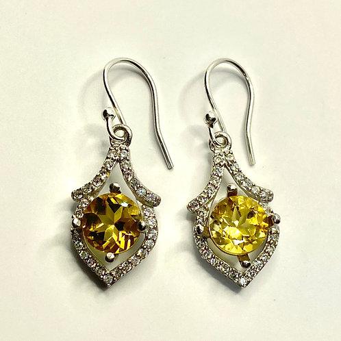 3.4ct Natural Citrine 925 Silver / Gold/ Platinum drop earrings