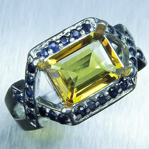 1.9ct Natural Yellow Heliodor Beryl 925 Silver / Gold/ Platinum ring