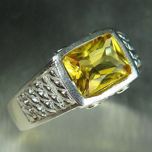1.55ct Natural Yellow Heliodor Beryl 925 Silver / Gold/ Platinum ring