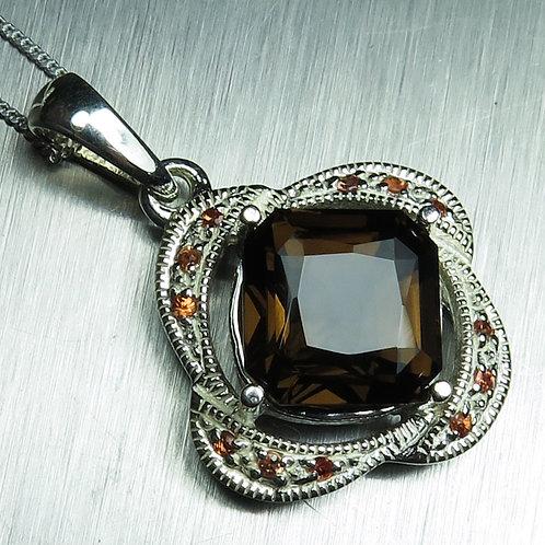 6.2ct Natural Smoky brown quartz Silver / Gold / Platinum pendant on chain