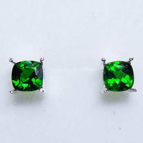 2.1ct Natural Chrome Diopside Silver /Gold / Platinum stud earrings