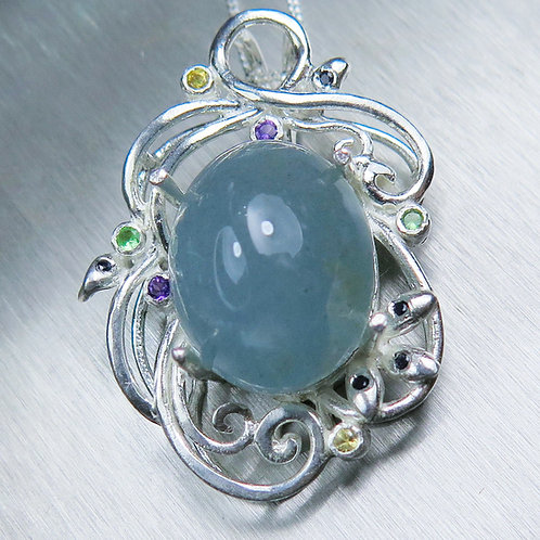 16ct Natural Blue Aquamarine cats eye Silver / Gold / Platinum pendant on chain