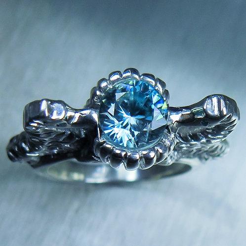 1.6ct Natural Blue Zircon 925 Silver / Gold/ Platinum seahorse rin