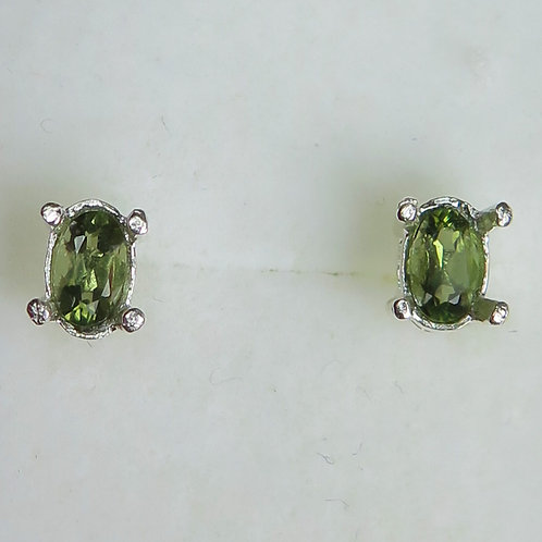 Natural Olive green Moldavite Silver /Gold stud earrings