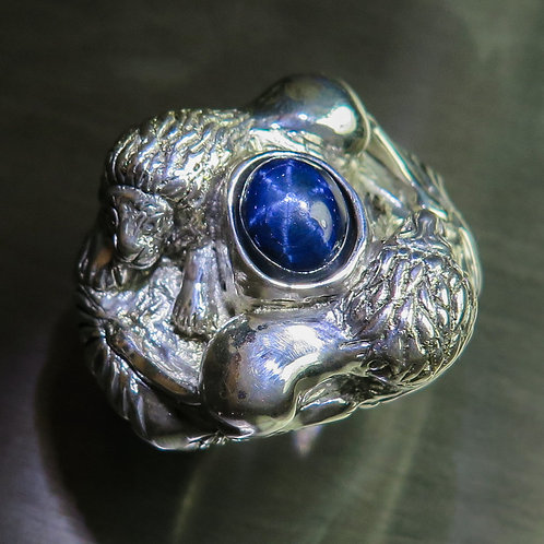 5.15cts Natural Blue star sapphires Silver/ Gold / Platinum ring