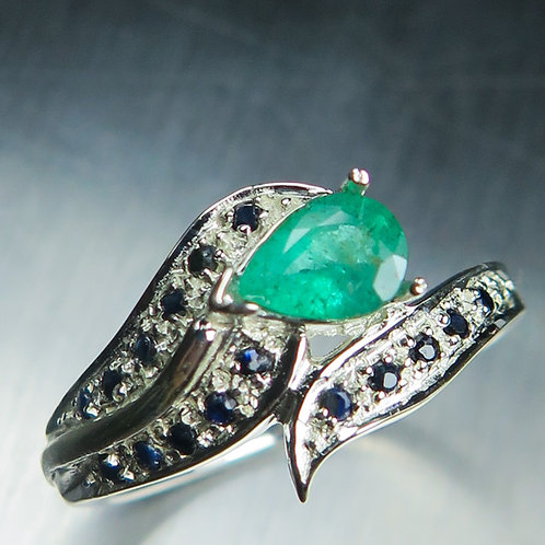 0.75cts Natural Green Emerald 925 Silver / Gold/ Platinum ring