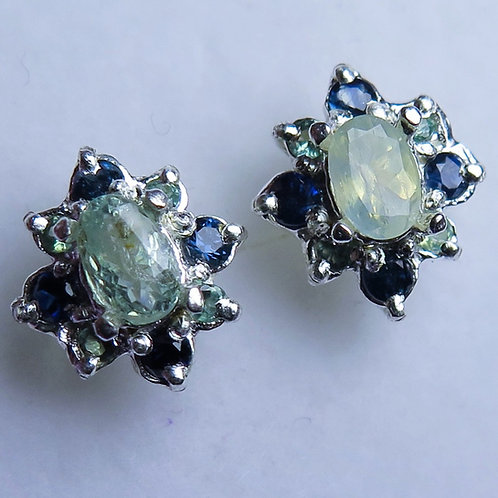 1cts Natural Alexandrite 925 Sterling Silver stud earrings
