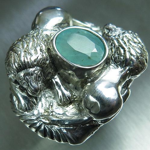2.50cts Rare Natural blue grandidierite 925 Silver / Gold/ Platinum lion ring