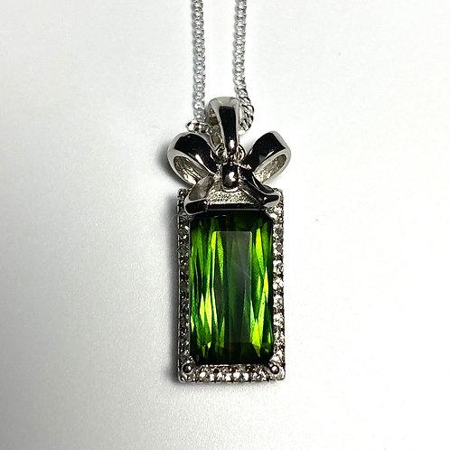 2.2ct Natural Chrome Green tourmaline Silver / Gold / Platinum pendant on