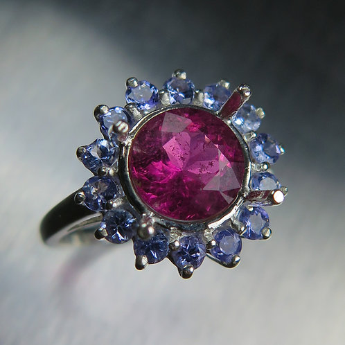 1.95ct Natural rubellite tourmaline red pink 925 Silver / Gold/ Platinum ring