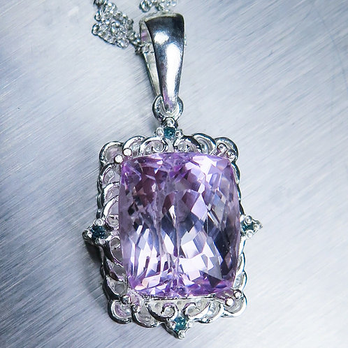 12.1ct Natural pink Kunzite Silver / Gold / Platinum pendant on ch