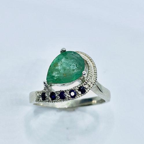 1.35cts Natural Green Emerald 925 Silver / Gold/ Platinum ring