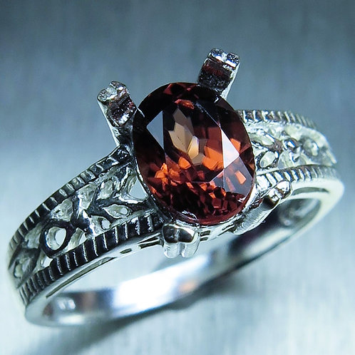 1.75ct Natural red Zircon 925 Silver / Gold/ Platinum ring