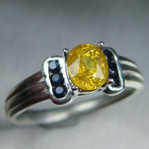 1ct Natural Yellow sapphire 925 Silver / Gold/ Platinum ring