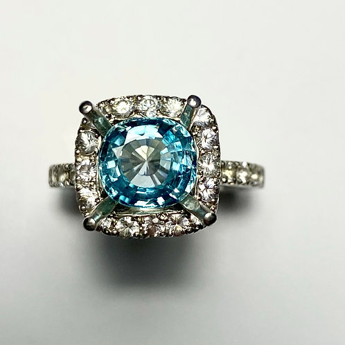 2.45ct Natural Paraiba Blue Zircon 925 Silver / Gold/ Platinum ring