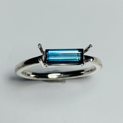 Natural Indicolite tourmaline 925 Silver / Gold/ unisex east west ring