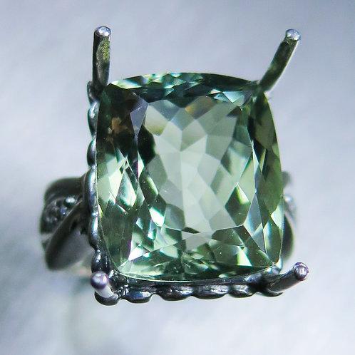 14.1cts Natural Amethyst (Prasiolite) 925 Silver / Gold/ Platinum ring