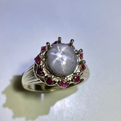 4ct Natural Dolphin blue grey star sapphire 925 Silver/ Gold/ ring