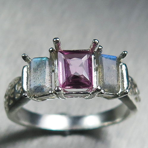 0.60cts Natural pink sapphire 925 Silver / Gold/ Platinum ring