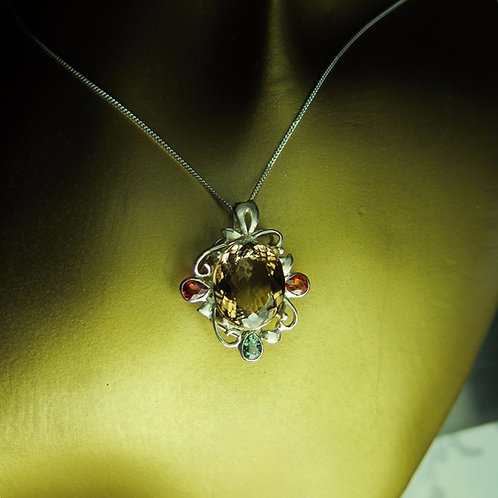 11cts Natural Imperial topaz Silver / Gold / Platinum pendant