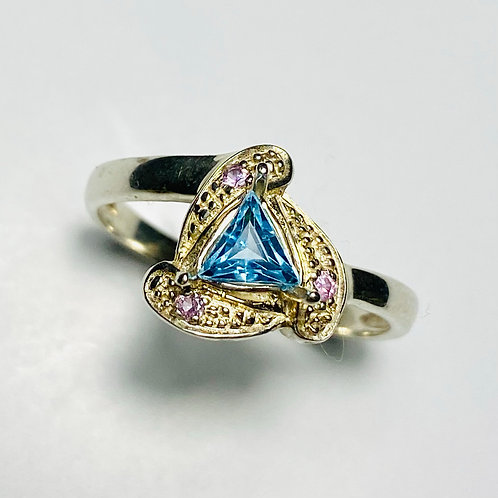 Natural topaz trillion 925 Silver / Gold/ Platinum engagement ring