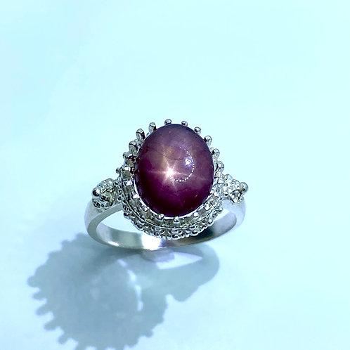 4.85cts Natural Red star ruby Silver/ Gold / Platinum solitaire ring