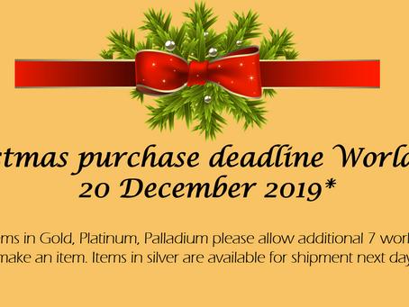 Christmas orders posting dates update.