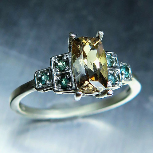 Natural cream axinite 925 Silver / Gold/ Platinum Art deco ring