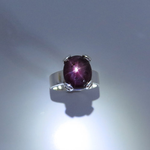8.25cts Natural Red star ruby Silver/ Gold / Platinum unisex solitaire ring