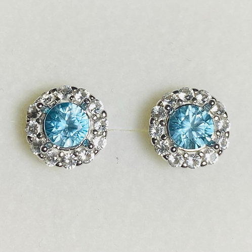 1.4ct Natural Paraiba zircon Silver /Gold halo stud earrings cluster