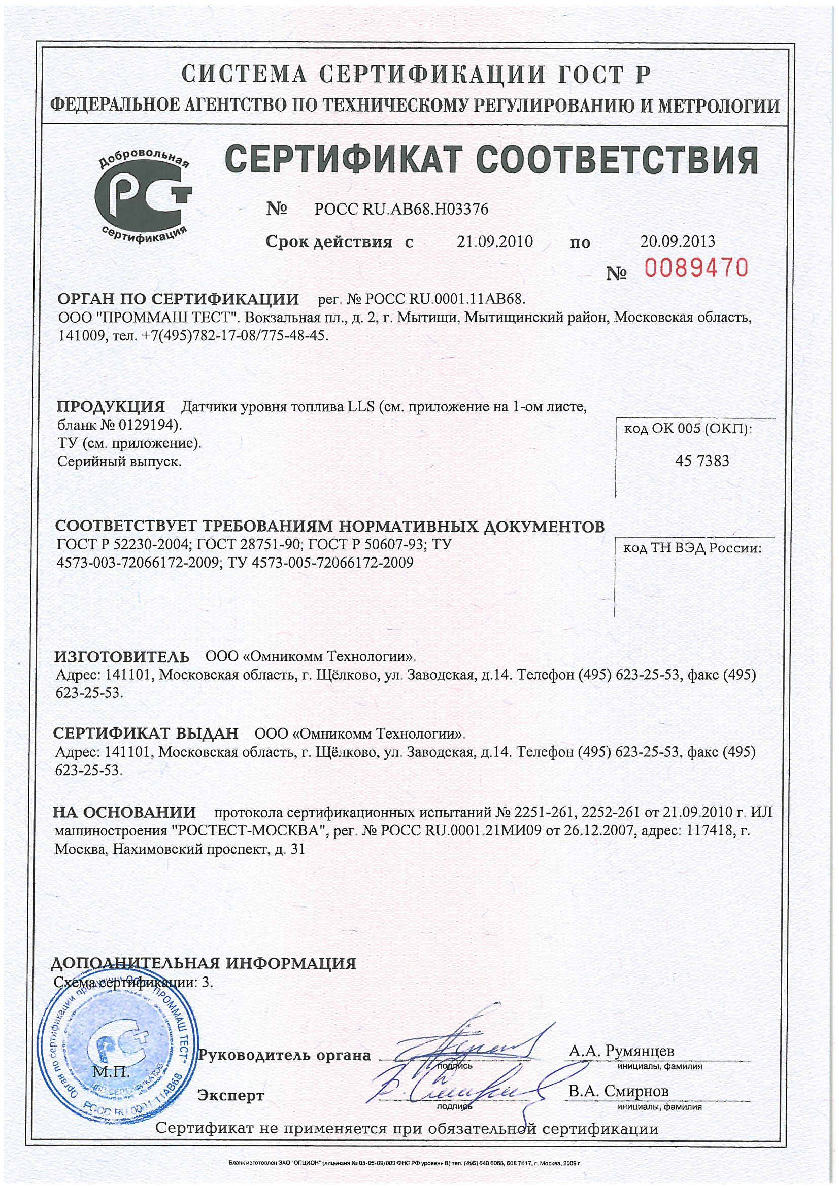 Сертификат-ДУТ