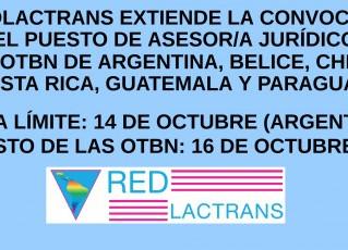 REDLACTRANS EXTIENDE LA CONVOCATORIA PARA ASESOR/A JURIDICO/A