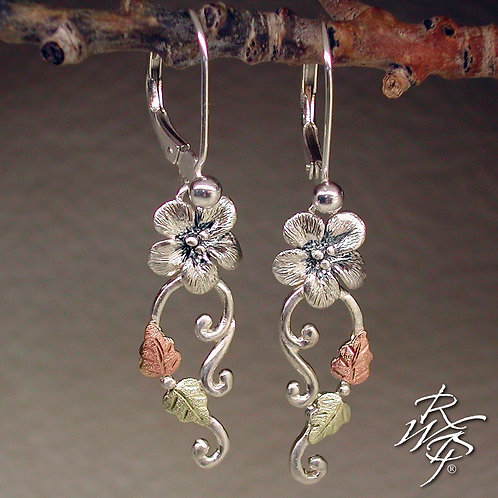 Forget-Me-Not Flower & Long Branch & Black Hills Gold Lever Back Earrings